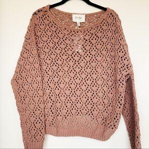 NWT Jessica Simpson Boho Crochet Knit Sweater